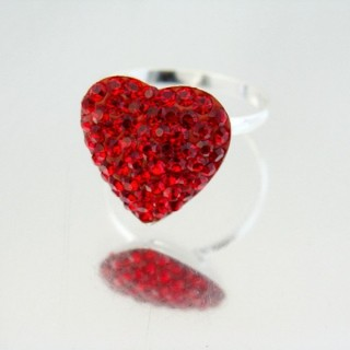 24432-1-16 HEART SHAPED SILVER RINGS SIZE 16