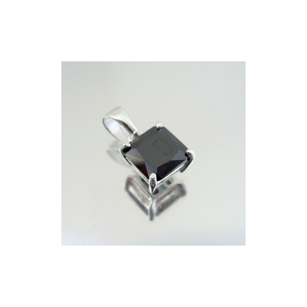 24447-4 SILVER PENDANT WITH SQUARE 8 MM GLASS STONE