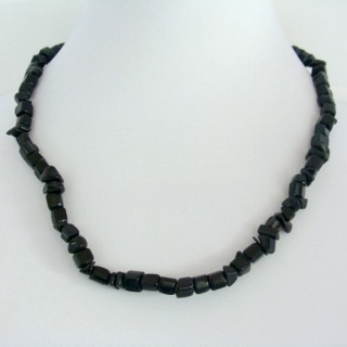 22649-19 COLLAR CORTO CHIPS PIEDRA OBSIDIANA