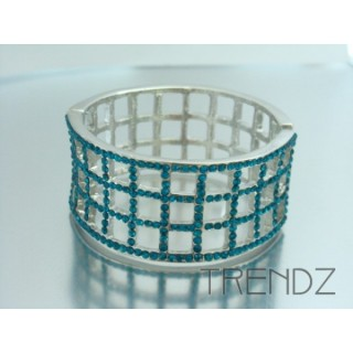 17428 TURQUOISE METAL CUFF BRACELET WITH GLASS STONES