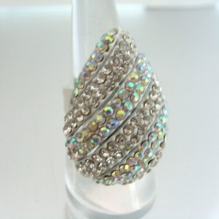 24579-316 ADJUSTABLE FASHION JEWELRY RING WITH GLASS