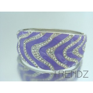 17433 LILAC EPOXY AND CRYSTALS METAL CUFF BRACELET