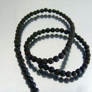 42553 STRING OF 86 BEADS OF 4 MM VOLCANIC LAVA