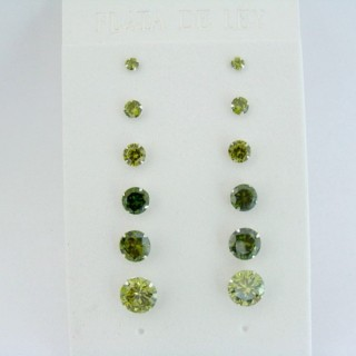 24542-01 SILVER EARRINGS 3 TO 8 MM 6 PAIRS ROUND GREEN