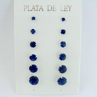 24542-05 SILVER EARRINGS 3 TO 8 MM 6 PAIRS ROUND BLUE