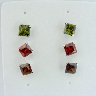 24562-03 SILVER EARRINGS 6 MM SQUARE 3 PAIRS MULTI