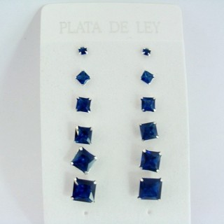 24555-01 SILVER EARRINGS 3 TO 8 MM 6 PAIRS SQUARE BLUE