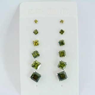24555-03 SILVER EARRINGS 3 TO 8 MM 6 PAIRS SQUARE GREEN
