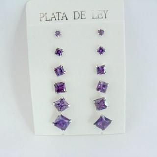 24555-04 SILVER EARRINGS 3 TO 8 MM 6 PAIRS SQUARE PURPLE