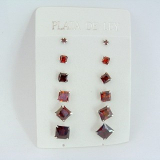 24555-05 SILVER EARRINGS 3 TO 8 MM 6 PAIRS SQUARE RED