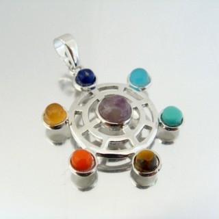 23004-14 FASHION PENDANTS WITH 7 CHAKRA STONES