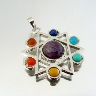23004-18 FASHION PENDANTS WITH 7 CHAKRA STONES