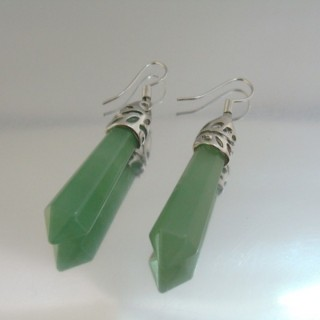 24106-04 GREEN AVENTURINE FISH HOOK EARRINGS WITH NATURAL STONE