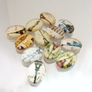 22693-03 PACK OF 12 PCS RESIN CABOCHON 13 X 18 MM