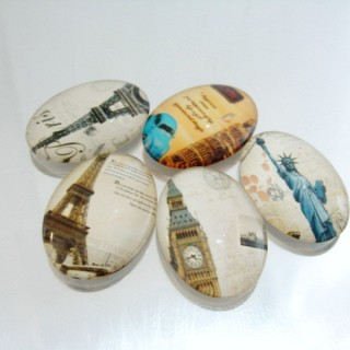 22696-03 PACK OF 5 PCS RESIN CABOCHON 25 X 35 MM