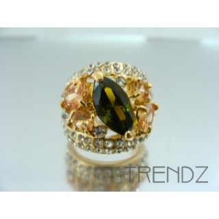 17562 GOLD SIZE 16 RHODIUM PLATED METAL & GLASS RING