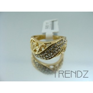 17564 GOLD SIZE 17 RHODIUM PLATED METAL & GLASS RING