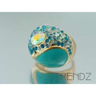17571 GOLD SIZE 18 RHODIUM PLATED METAL & GLASS RING