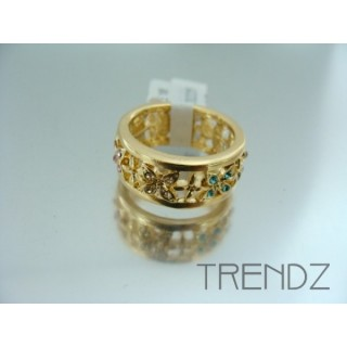 17573 GOLD SIZE 17 RHODIUM PLATED METAL & GLASS RING