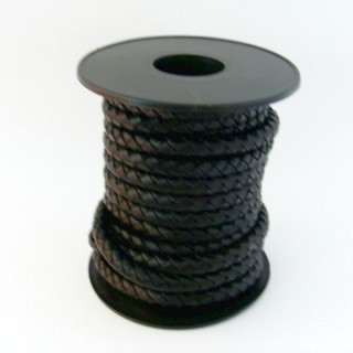 22690-01 ROLL OF 5 M OF 5 MM PLATTED LEATHER: BLACK