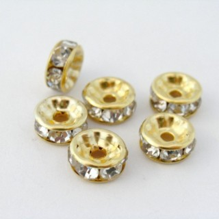 22170-ORO PACK 100 ROUNDELS 8 MM WHITE CRYSTAL