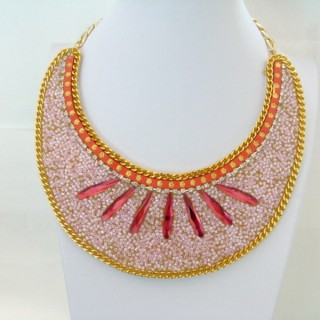 25117-13 BIB NECKLACE MADE WITH VARIOUS EMBELLISHMENTS