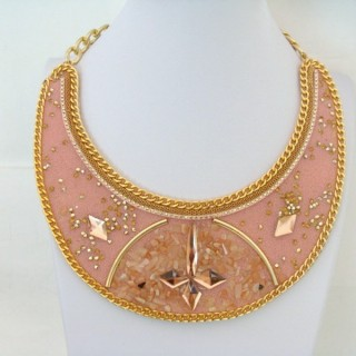 25117-16 BIB NECKLACE MADE WITH VARIOUS EMBELLISHMENTS