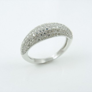25803-18 RHODIUM & SILVER RING WITH MICROPAVE CZ STONES