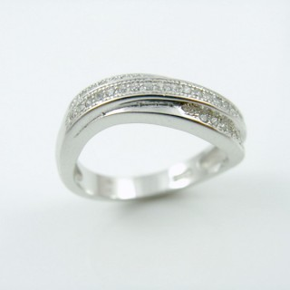 25801-17 RHODIUM & SILVER RING WITH MICROPAVE CZ STONES