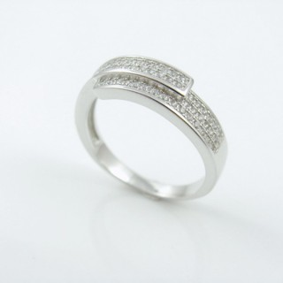 25802-18 RHODIUM & SILVER RING WITH MICROPAVE CZ STONES