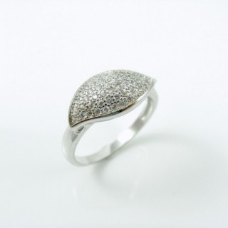 25806-18 RHODIUM & SILVER RING WITH MICROPAVE CZ STONES