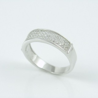25800-17 RHODIUM & SILVER RING WITH MICROPAVE CZ STONES