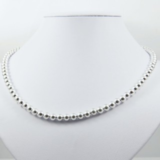24883 SILVER 6 MM BALL 40 CM NECKLACE WITH 5 CM EXT.