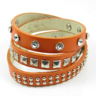 26121-04 SYNTHETIC LEATHER BRACELET VARIOUS RIVETS