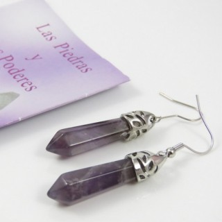 24106-17 AMETHYST FISH HOOK EARRINGS WITH NATURAL STONE