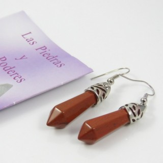24106-19 RED JASPER FISH HOOK EARRINGS WITH NATURAL STONE