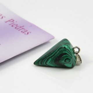 26150-09 MALACHITE PENDULUM SHAPED STONE 25 X 15 MM PENDANT