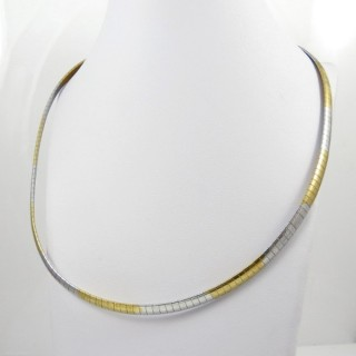 27003 TWO TONE STAINLESS STEEL CHOKER NECKLACE