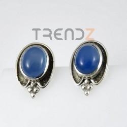 27472-04 OVAL SILVER 18 X 13 MM EARRINGS: BLUE ONYX