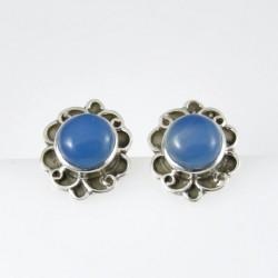 27473-04 STERLING SILVER POST EARRINGS 16 X 13 MM: BLUE ONYX