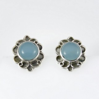 27473-11 STERLING SILVER POST EARRINGS 16 X 13 MM: CALCEDONIA