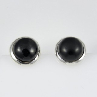27469-07 SILVER AND STONE 12 MM EARRING: ONYX