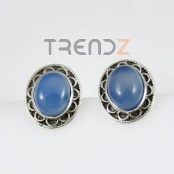 27464-04 OVAL SILVER EARRINGS 16 X 13 MM: BLUE ONYX