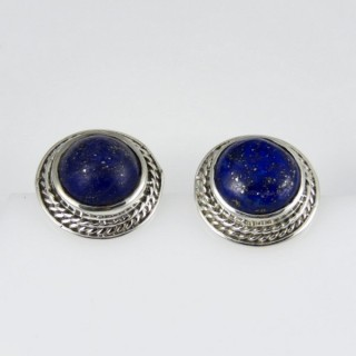 27476-05 SILVER AND STONE 15 MM EARRINGS: LAPIS LAZULI