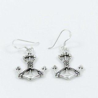 28797 STERLING SILVER ANCHOR EARRINGS. SIZE: 16 X 20 MM