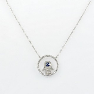 28568 STERLING SILVER RHODIUM PLATED 44 CM LONG NECKLACE WITH 15 MM ROUND HAMSA PENDANT