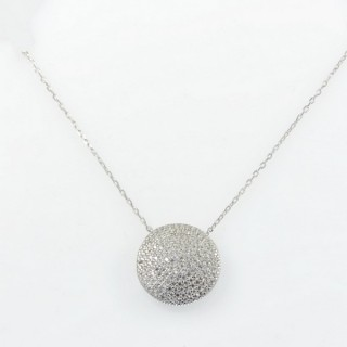 28575 STERLING SILVER RHODIUM PLATED 44 CM LONG NECKLACE WITH 16 MM ROUND CUBIC ZIRCON PENDANT