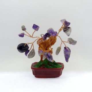 28119-01 CERAMIC TREE WITH AMETHYST STONES. HEIGHT: 9 CM