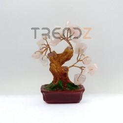28119-02 CERAMIC TREE WITH ROSE QUARTZ STONES. HEIGHT: 9 CM
