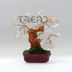 28119-04 CERAMIC TREE WITH WHITE QUARTZ STONES. HEIGHT: 9 CM